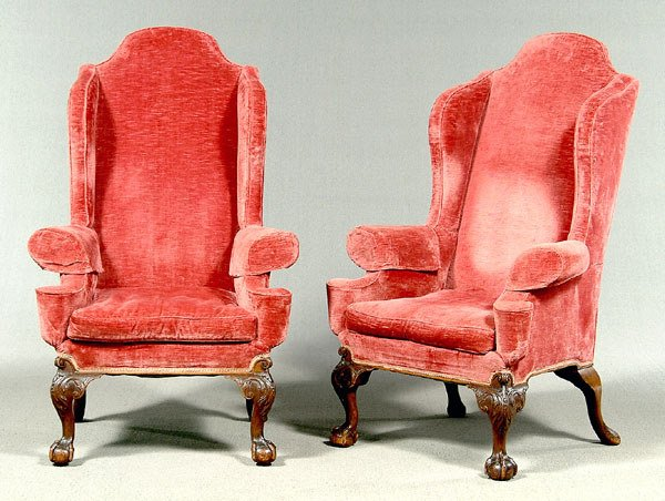 342: Pair Chippendale-style armchairs: