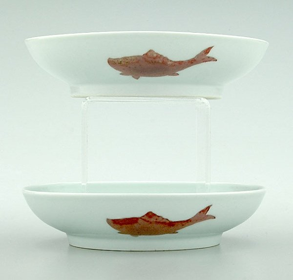 779: Pair Chinese porcelain fish dishes,