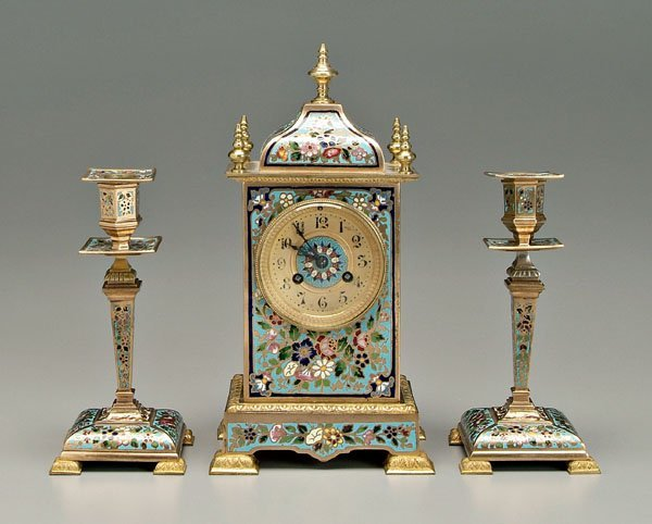 1: Enameled clock with candlesticks: