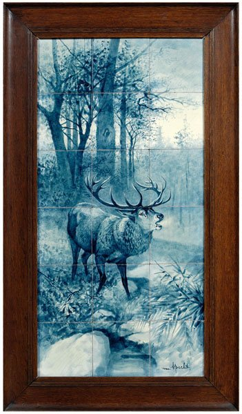 3: Framed hand painted tile picture: