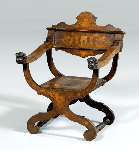 13: Carved and inlaid Savonarolla chair,