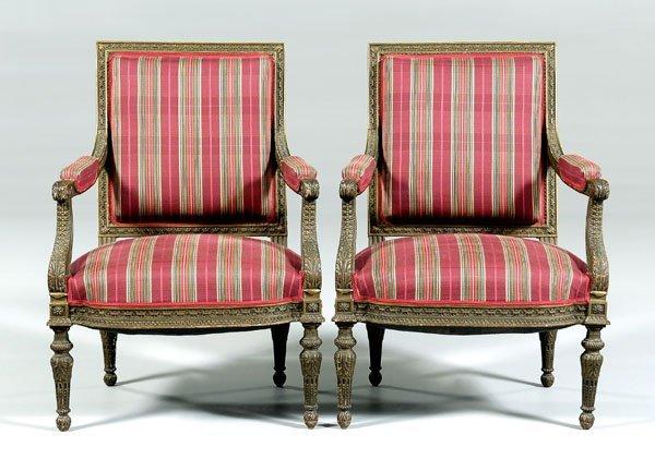 23: Pair Italian neoclassical armchairs: