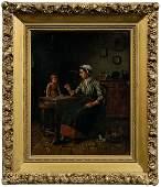 80: Charles Petit genre painting,