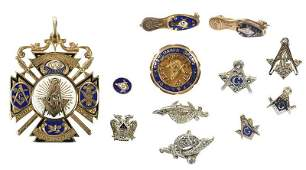 Large Group of Masonic Pins and Pendant