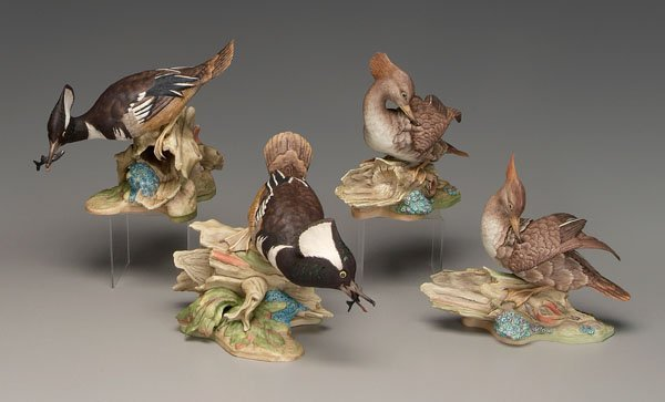 1: Two Boehm porcelain bird groupings: