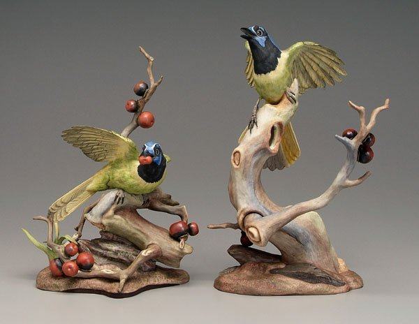 13: Two Boehm green jays:
