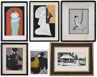 Six Contemporary Japanese Woodblock Prints