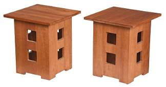 Pair Contemporary Stickley Cherry Side Tables