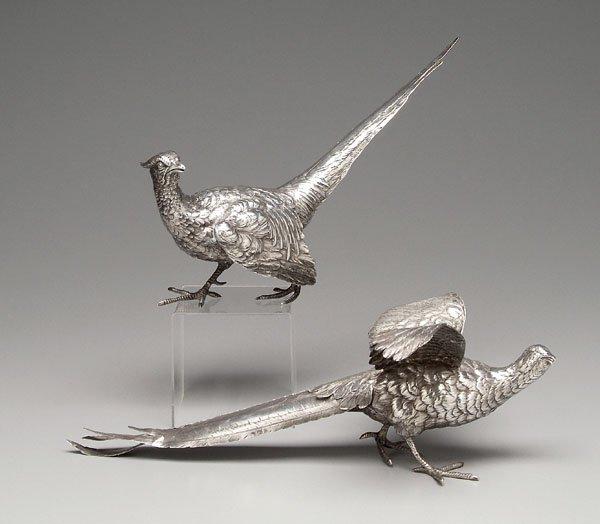 8: Two silver pheasants: