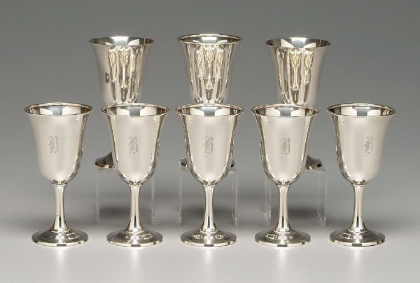 12: Eight sterling goblets: