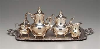 13: Gorham sterling tea service: