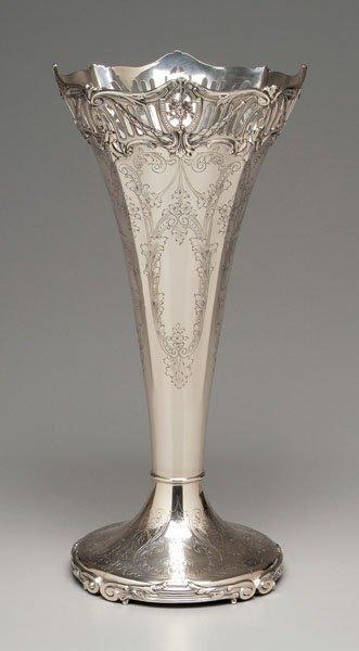 14: Large sterling trumpet vase,