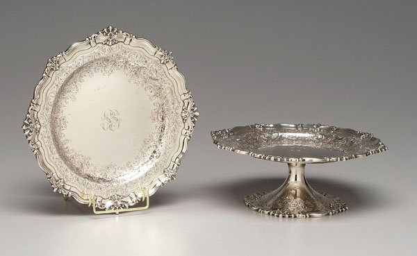 15: Pair sterling tazza: