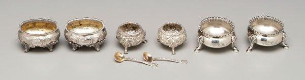 17: Three pairs silver open salts: