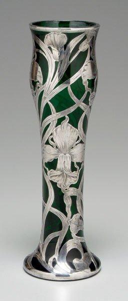 670: Silver overlay vase,