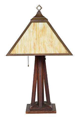 Arts and Crafts Slag Glass and Wood Table Lamp