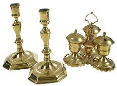 Pair Brass Candlesticks and Ink Stand