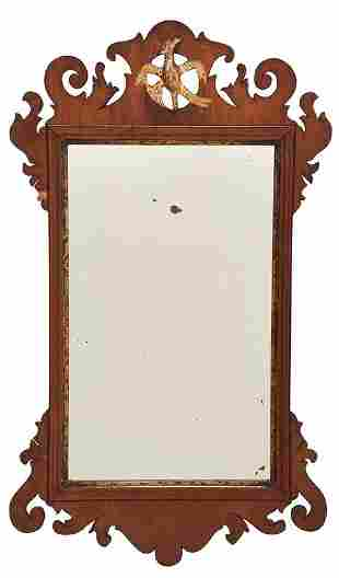 Chippendale Figured Parcel Gilt Mahogany Mirror