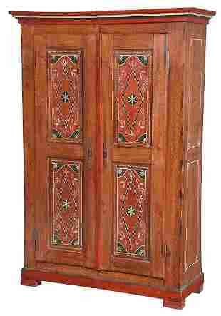 Continental Grain and Paint Decorated Armoire