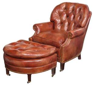 Contemporary Tufted Leather Club Chair and Ottoman