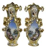 Pair of Old Paris Porcelain Style Vases