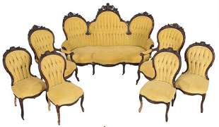 Victorian Carved Walnut Seven Piece Parlor Suite
