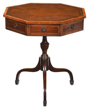 Regency Style Inlaid and Leather Inset Drum Table