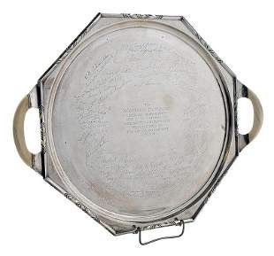 Engraved English Silver Ivory Handle Tray