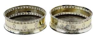 Pair of Silver Plate Wine Coasters