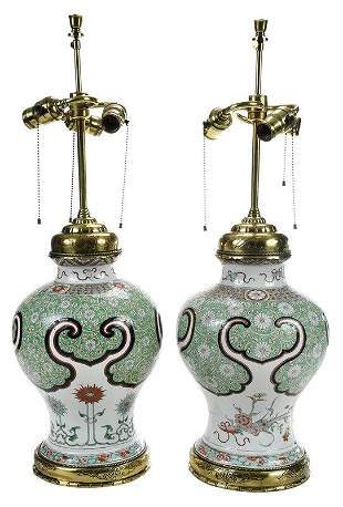 Pair Chinese Famille Verte Jars Mounted as Lamps
