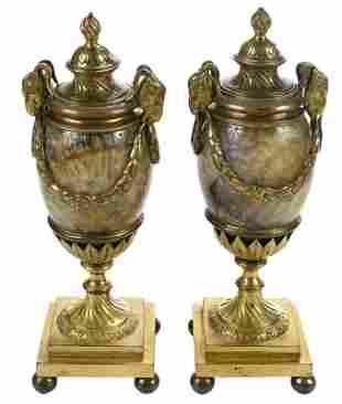 Pair Matthew Boulton George III Blue John Candle Vases