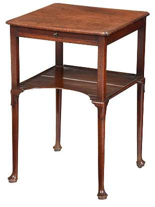 Fine Queen Anne Figured Mahogany Side Table