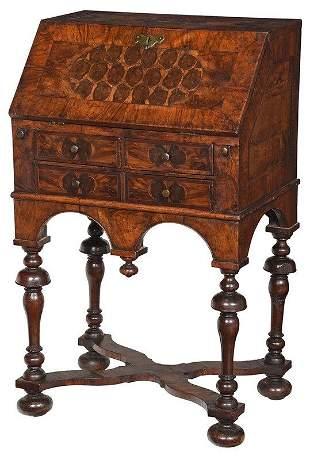 William and Mary Oyster Veneered Diminutive Desk