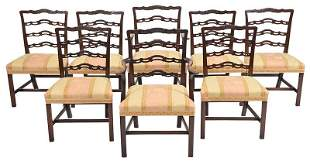 Fine Set Eight Carved Ribbon Back Dining Chairs
