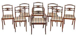 Set Eight Regency Carved Mahogany Dining Chairs
