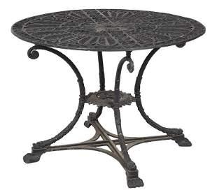 Black Painted Cast Iron Circular Garden Table