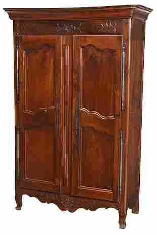 Provincial Louis XV Carved Walnut Armoire
