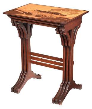 Galle Art Nouveau Marquetry Inlaid Nest of Tables