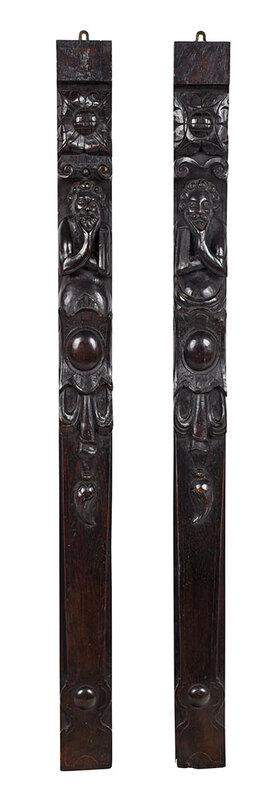 Pair Gothic Style Carved Oak Figural Panels