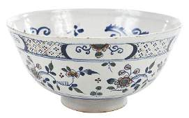 An English Delftware Polychrome Punch Bowl