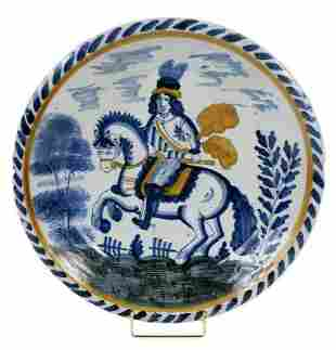 """English Delft """"Royalist"""" Equestrian Charger"""