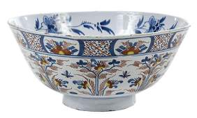 A Large English Delft Polychrome Punch Bowl