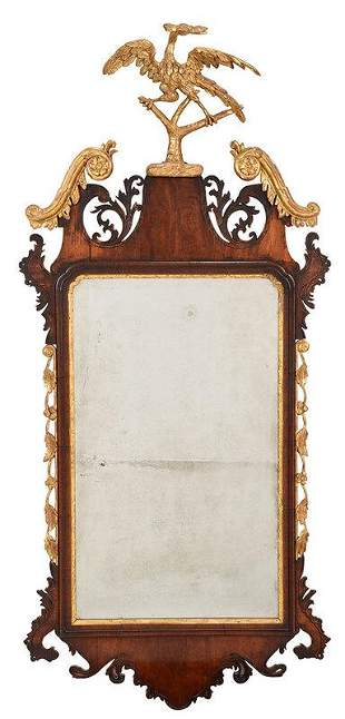 Chippendale Figured Mahogany Parcel Gilt Mirror