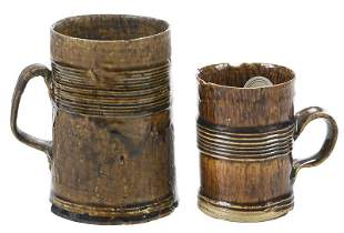 Two Staffordshire Brown Glazed Earthenware Mugs