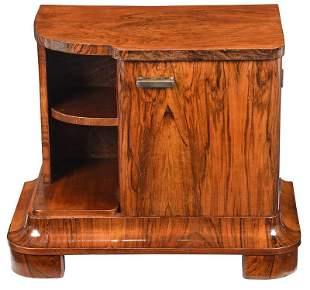 Art Deco Figured Walnut Bedside Cabinet