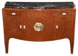 Fine Art Deco Marquetry Inlaid Marble Top Cabinet