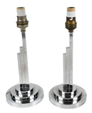 Pair of Art Deco Chrome Table Lamps