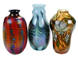 Three Charles Lotton Art Glass Vases