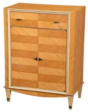 Mid Century Parquetry Veneered White Painted Cabinet