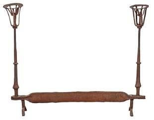 Early Wrought Iron Fireplace Andiron